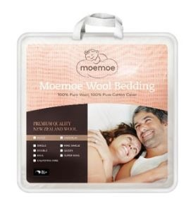 Moemoe Single Duvet Inner 100% NZ Wool 140X210CM