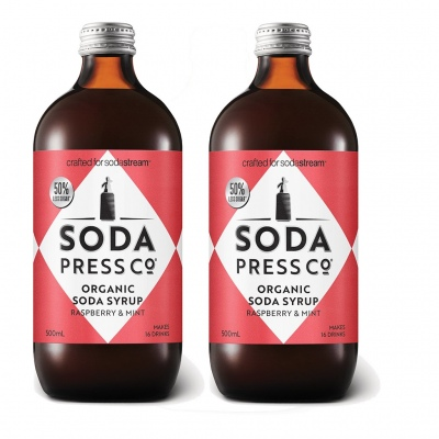 Soda Press Raspberry And Mint 500Ml Syrup Twin Pac