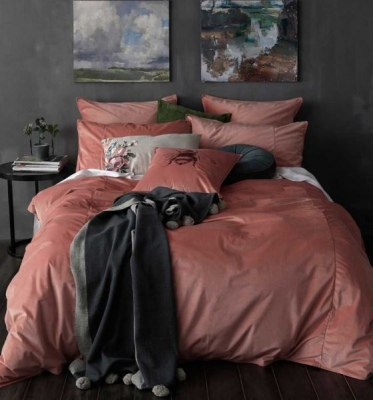 Cameo Faux Velvet Queen Duvet Cover Set