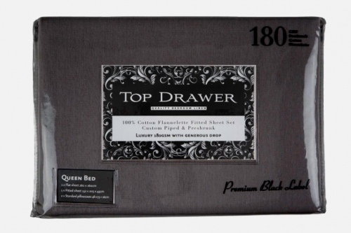 Top Drawer Cotton Flannelette Set Graphite Double