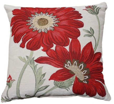 Florid Red Woven Tapestry Cushion 45X45Cm
