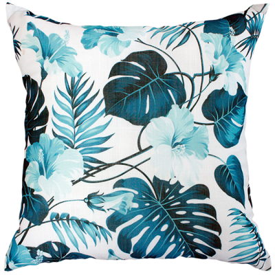 Jungle Foliage Blue/White Cushion 50X50Cm Print