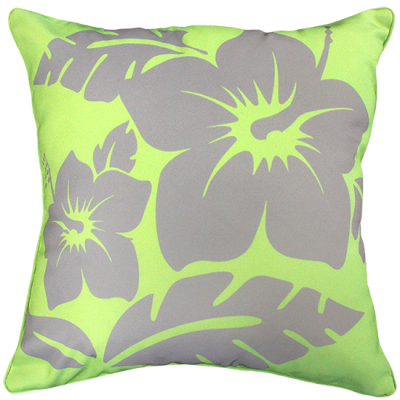 Hibiscus Lime Outdoor Cushion 45X45CM Print