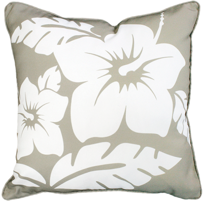 Hibiscus Taupe Outdoor Cushion 45X45CM Print