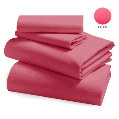 L&M 250 Thread Cotton/Poly Coral Single Sheet Set