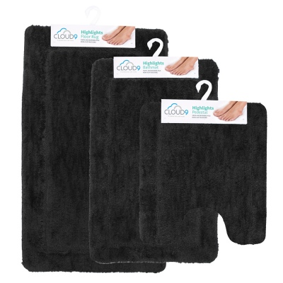 Cloud 9 Highlights Onyx 3Pc Bathmat Set