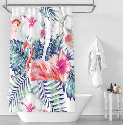Cloud 9 Flamingo Printed 120X180Cm Shower Curtain