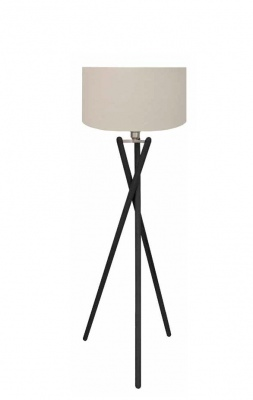 Fairbank Blk Floor Lamp Natural Fabric Shade 1.4M