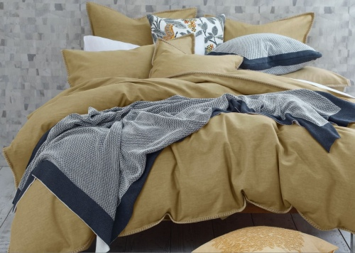 Stitch Ochre Linen Cotton Queen Duvet Cover Set