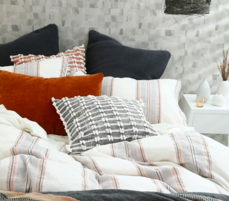 Lagos Linen Cotton Stripe King Duvet Set