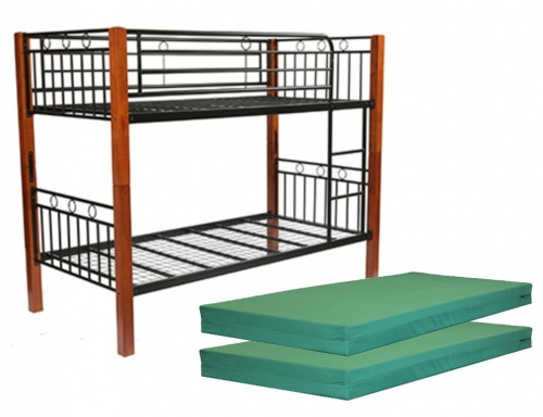 Rover Single Bunk Wood & Metal + 2 Foam Mattresses