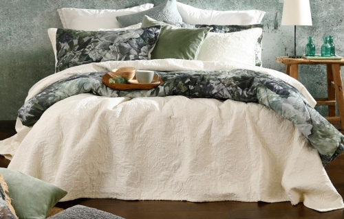 Ancara Ivory Embroidered Cotton Super King Bedspre