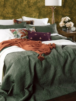 Ancara Clover Embroidered Cotton King Bedspread
