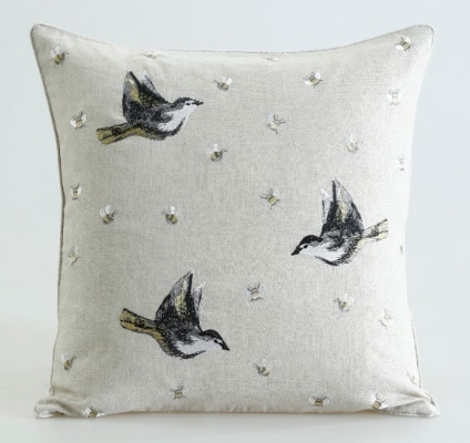 Flyaway Natural Embriodered Cotton Cushion 50X50Cm