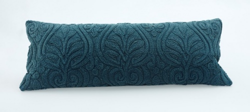 Malta Teal Cotton Crewel Cushion 35X90Cm