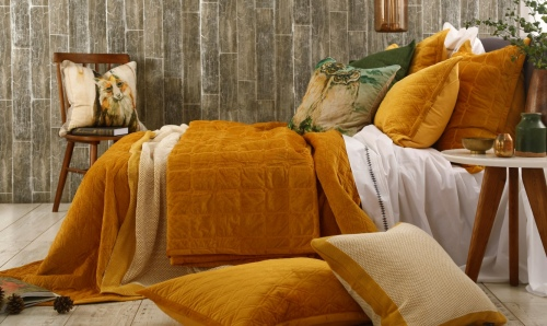 Aurum Gold Quilted Faux Velvet King Bedspread