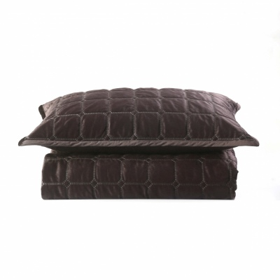 Meeka Coffee Quilted King Comforter Set +2Pc Feb21