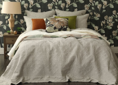 Carlotta Quilted Natural Cotton King Bedspread
