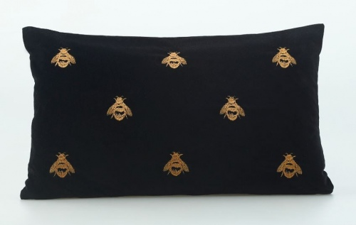 Buzz Embroidered Velvet Long Cushion 50X30Cm
