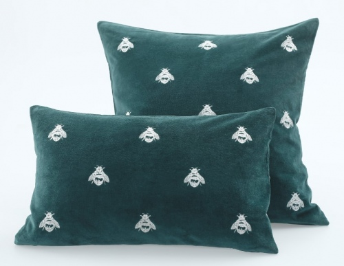 Buzz Embroidered Velvet Emerald Cushion 50X30Cm