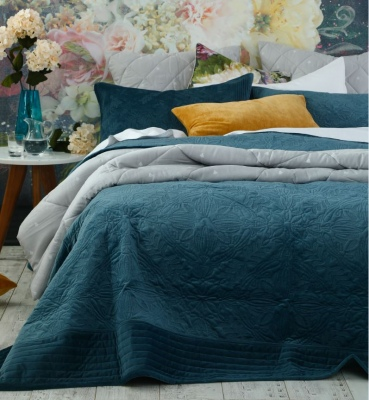 Remy Indigo Quilted Faux Velvet King Bedspread