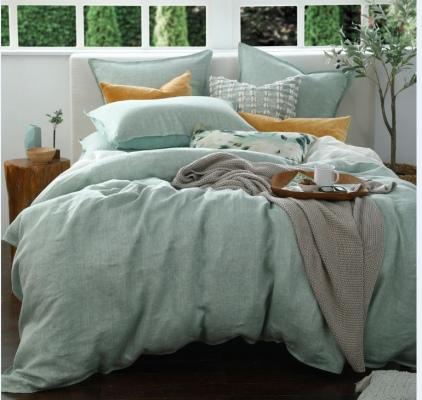 Herringbone Linen Sage Super King Duvet Cover Set