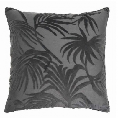 Palm Jacquard Charcoal Cushion 50Cm