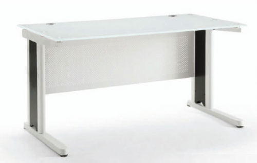 Criterion Apex 1600 White Desk W/Glass Top