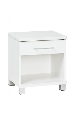 Arctic 1 Draw Bedside Cabinet White 460X382X499H
