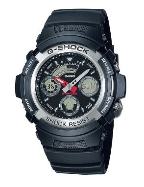 G Shock Black Silver Analogue Watch
