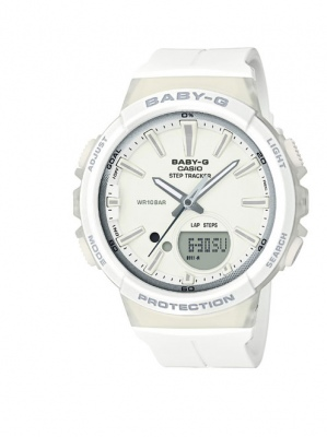 Baby-G White Silver Step Tracker Analogue Watch