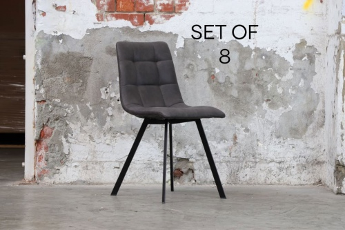 Berlin Dining Chair Set Of 8 With Dark Pu Seat