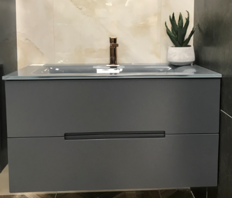 Dark Grey Matt Wh 900 Vanity 900X460X500Mm W/Gtop