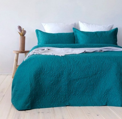 Bambury Botanica Single/Double Teal Coverlet