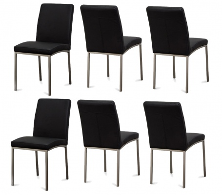 Bristol Black Pu Dining Chair Set Of 6