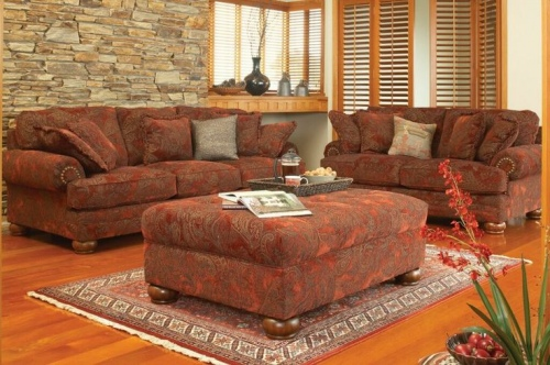 Burlington 3 + 2 + Ottoman In Sienna Fabric