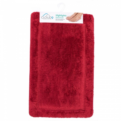 Cloud 9 Highlights Scarlet 50X80Cm Bathmat