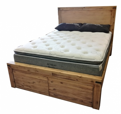 Calgary Light Acacia Queen Slat Bed 2 Drawer