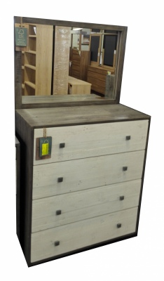Calais Rustic Olive/White 4Dr Dresser