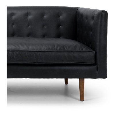 Alfie 3 Seater In Black Leather With Oak Legs
