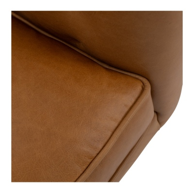 Alfie 3 Seater In Tan Leather With Oak Legs