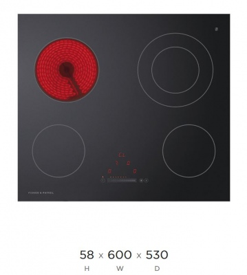 F&P Ceramic 4 Element Cooktop Touch And Slide