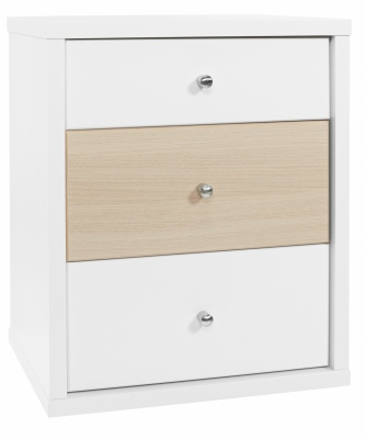 Cosmo 3 Draw Bedside Cabinet White/Beech 474X587H