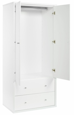 Cosmo 2Draw 2Door Wardrobe White 794X1755H
