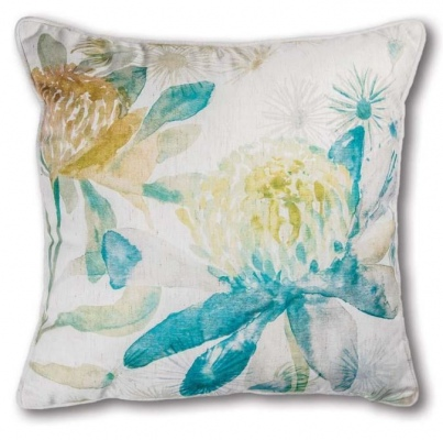 Summer Garden Blue Ochre Cushion 50Cm