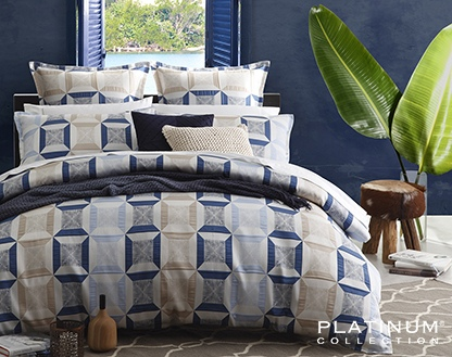 Platinum Cuba Indigo Auz Super King Duvet Cover SE