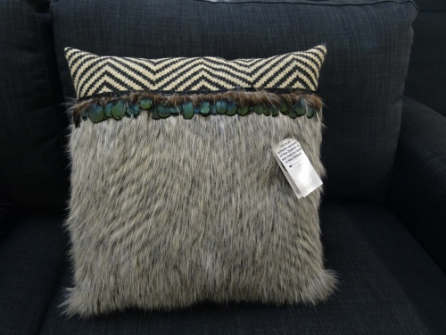 Ponga Grey Faux Fur Zig Lrg Cushion 45X45Cm