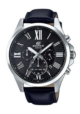 Edifice Classic Black Black Leather Analogue Watch