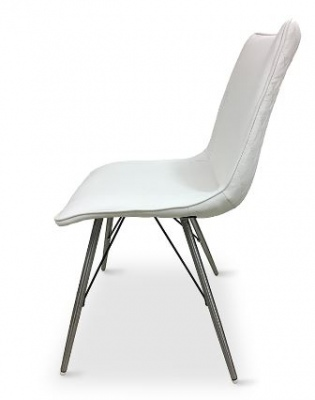 Moods White Pu Dining Chair Brushed Stainless Legs