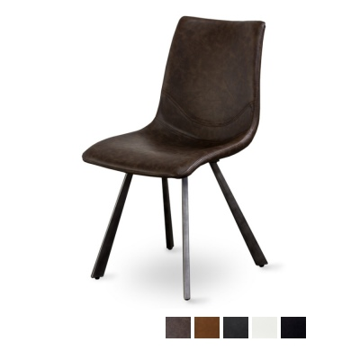 Rustic Bell Dark Brown Dining Chair Iron Wide Legs